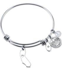 unwritten california state adjustable bangle bracelet in stainless steel
