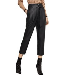high-rise faux leather cropped pants