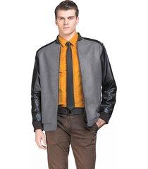 casaco belfast curto cinza