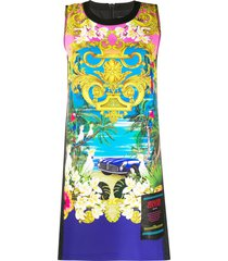 versace jeans couture baroque beach dress - black