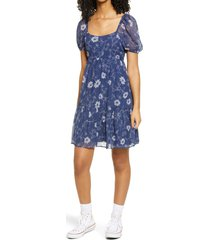 women's bp. short sleeve tiered dress, size xx-small - blue