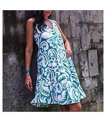 cotton dress, 'balinese green' (indonesia)