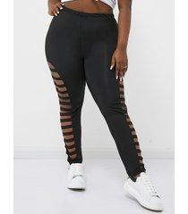 yoins basics leggings negros con corte extra grande