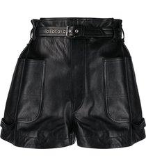 isabel marant xike belted wide-leg shorts - black