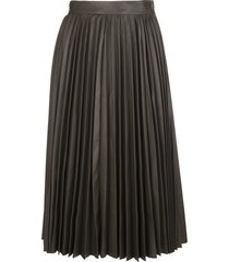 red valentino military green leather pleated skirt