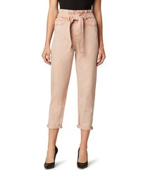 women's joe's the brinkley paperbag waist crop straight leg jeans, size 29 - pink