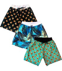 kit  3 shorts ks  estampado praia microfibra  bolsos nas laterais