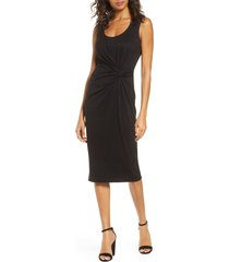 forest lily waist knot melange knit dress, size x-small in black at nordstrom
