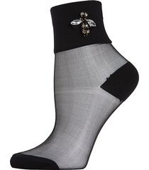 queen bee rhinestone sheer anklet socks