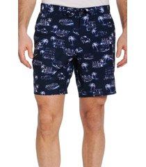 men's robert graham beach to bar culture trip swim trunks, size 38 - blue