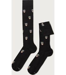 calzedonia marvel pattern cotton long socks man black size tu