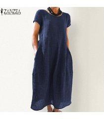 zanzea más el tamaño de las mujeres de manga corta camiseta vestido de cuello de equipo del verano vestido de tirantes vestido a media pierna -azul marino