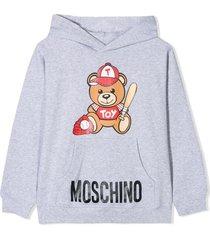 moschino light grey cotton hoodie