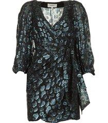 zijden wikkeljurk met luipaardprint ginger  blauw