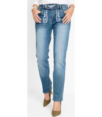 tiroler jeans met borduursel en rechte pijpen