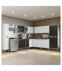 cozinha completa com armário e balcáo com tampo 11 peças xangai pop multimóveis branca/preta