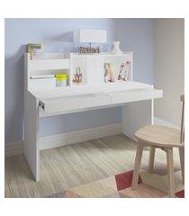 mesa escrivaninha artany france home office 2 gavetas branca