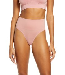 women's yummie ultralight seamless shaping thong, size small/medium - coral