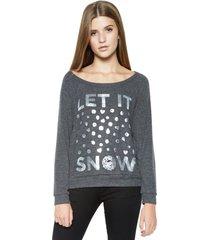 brenna let it snow l/s pullover - l black