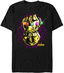 marvel men's avengers infinity war purple splatter gauntlet short sleeve t-shirt