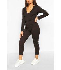 petite soft rib v-neck jumpsuit, black