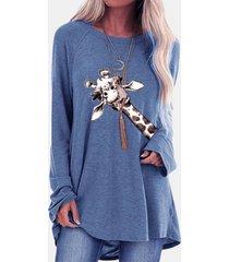 camicetta casual a maniche lunghe con stampa giraffa dei cartoni animati per donna