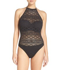 women's freya sundance underwire one-piece swimsuit, size 32f - black