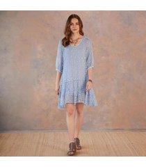 blue embroidered silk dress