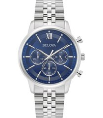 bulova men's chronograph stainless steel bracelet watch 41mm