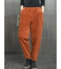 pantaloni di velluto a coste casual con elastico in vita tinta unita