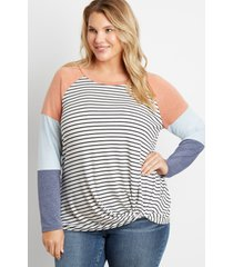 maurices plus size womens 24/7 stripe colorblock knot hem baseball tee white
