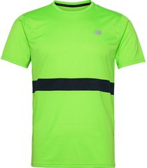 striped accelerate short sleeve t-shirts short-sleeved grön new balance