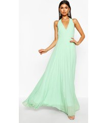 chiffon pleated plunge maxi bridesmaid dress, mint