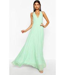 chiffon pleated plunge maxi bridesmaid dress, mint