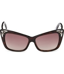 swarovski women's 56mm cat eye sunglasses - dark havana