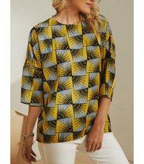 camicetta casual da donna stampata geometrica o scollo