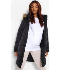 zwangerschaps gewatteerde jas met faux fur zoom, zwart