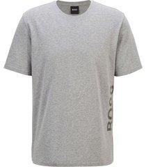 hugo boss t-shirt van stretchkatoen met verticaal logo grijs