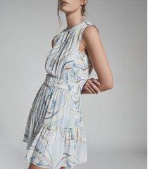 reiss vienna - swirl printed mini dress in blue/grey, womens, size 14
