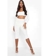 gestreepte korte driekwarts mesh capri leggings, white