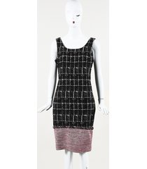 chanel silk tweed knee length sheath dress black/pink sz: m
