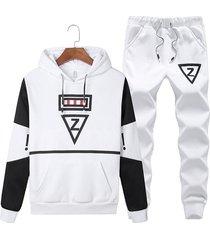koyye traje deportivo de dos piezas con bloque de color y letras con capucha para hombre