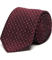 square and dot embroidered silk tie