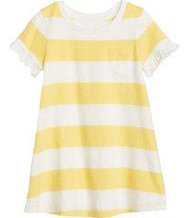 vestido manga corta con bolsillo amarillo gap