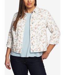 cece women's plus small duchess printed denim jacket