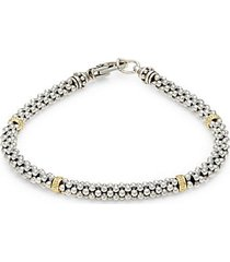 signature caviar sterling silver & 18k gold bracelet
