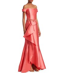 off-the-shoulder ruffle gown