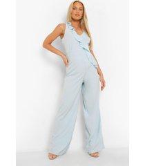 zwangerschap wide leg jumpsuit met franjes en laag decolleté, blue