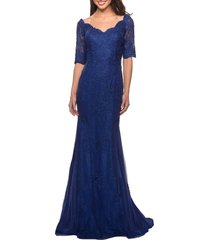 la femme beaded v-neck lace gown, size 4 in marine blue at nordstrom