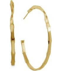 """essentials twisted skinny medium hoop fine silver plate earrings, 2"""""""